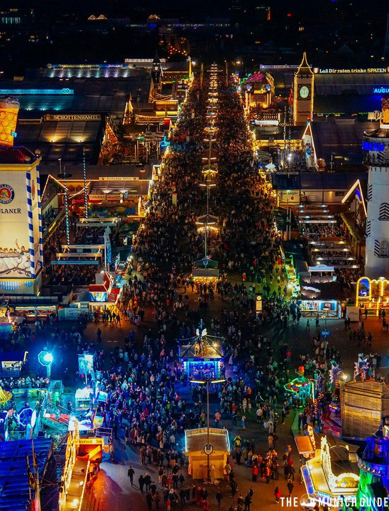 OKtoberfest from above at night in Munich