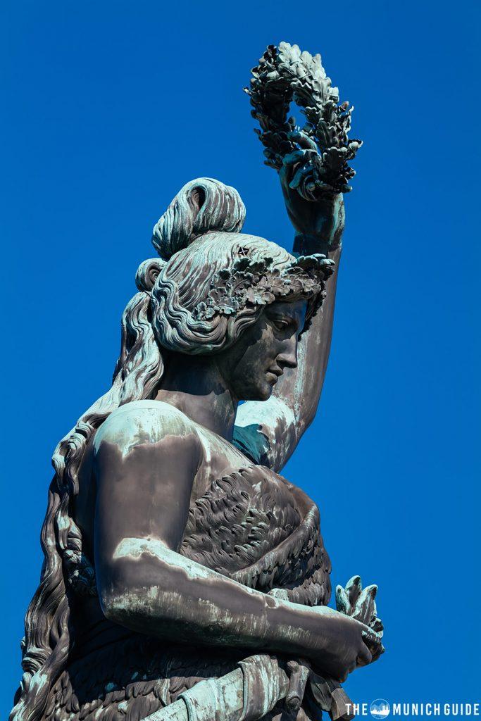 A profile shot of the Bavaria Statue in Munich