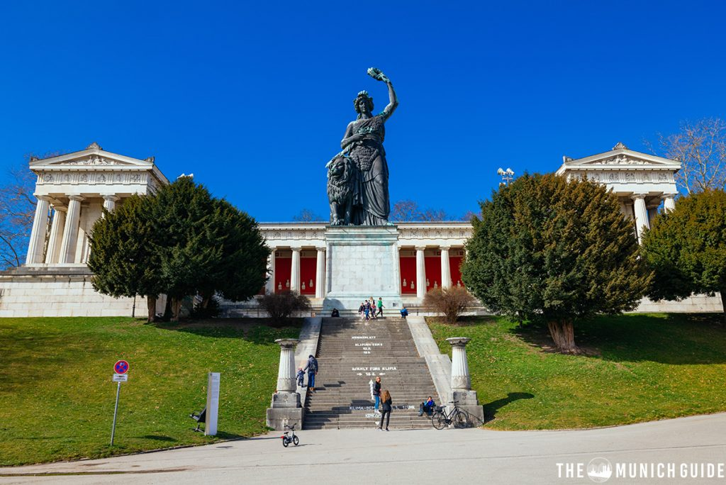 The Ruhmeshalle in Munich with the Bavaria Statue in front of it