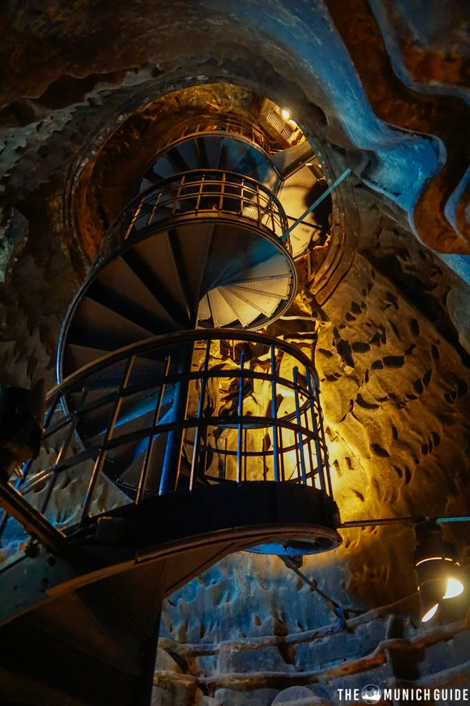 The spiral staircase inside the Bavaria statue