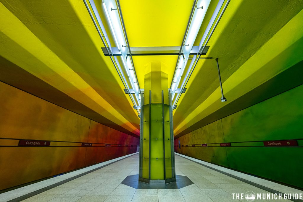 The coloroful subway station Candidplatz in Munich