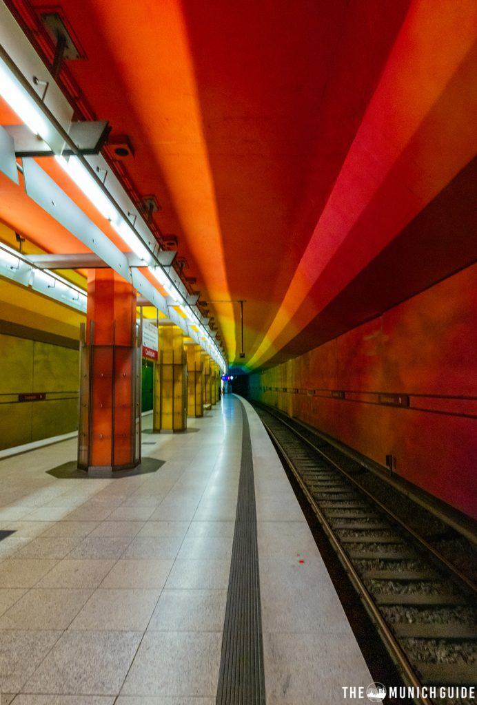 The coloroful subway station Candidplatz in Munich, Germany