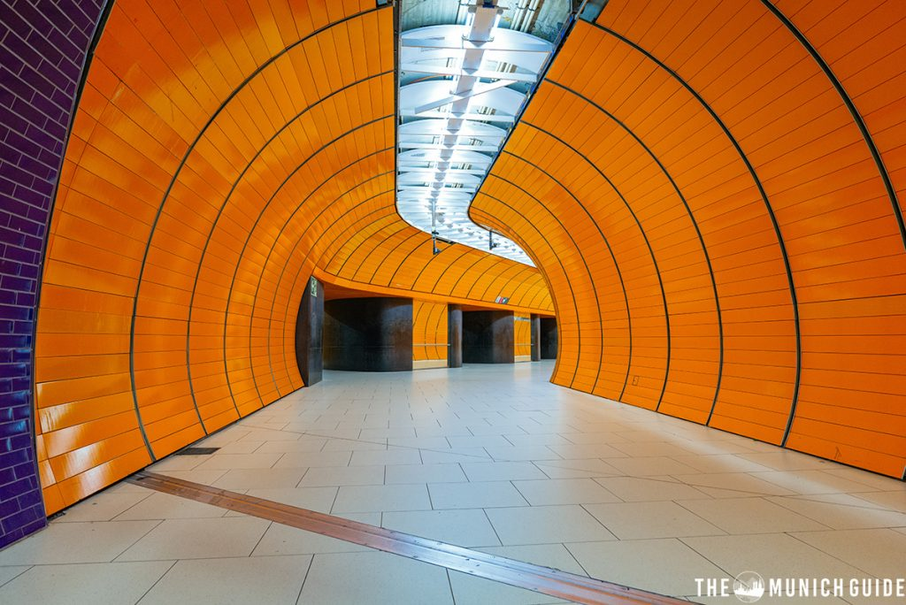 The orange tunnels of Marienplatz subway station in Munich