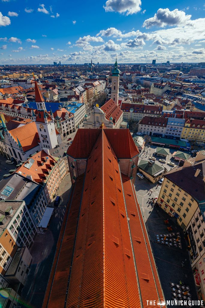View of munich from the top of alter peter clock tower